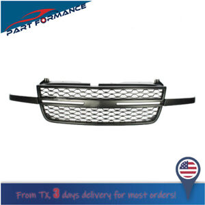 For 05 07 Chevy Silverado 1500 2500hd 3500 Front Upper Black Grille Replacement