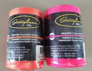 Stringliner Pro Orange Twisted 540 And Pink Braided 500 Chalk Line Refill