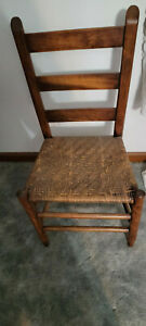 Antique 19th Century Shaker Straight Back Chair Wooven Seat Good Condition