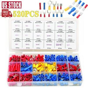 520pcs Assorted Crimp Terminals Set Insulated Electrical Wiring Connector Kit