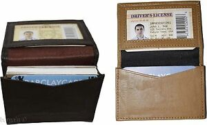Lot Of 2 New Leather Business Card Case Brown beige Credit Card Id Leather Case