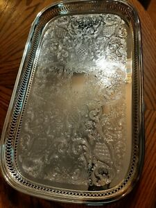 Stunning Oneida Silver Plated Serving Tray On Legs 11 5 X 20 Inches