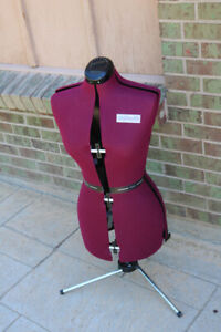 Dritz My Double Burgundy Adjustable Dress Form With Metal Tripod Made In England