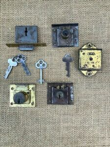 Vintage Antique Assorted Small Cabinet Locks Keys And Knobs And Pulls