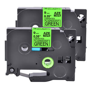 2pk Compatible With Brother Tz Tze d21 Black On Fluo Green Label Tape 0 35