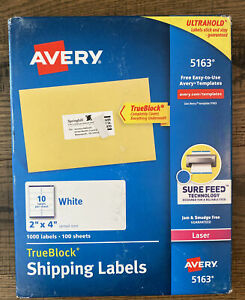 Avery Ultrahold 5163 2 X 4 White Shipping Labels Laser 1000 Labels True Block