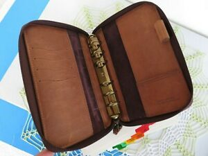Pocket 7 8 rings Brown Leather Franklin Covey quest Planner Binder Zip usa