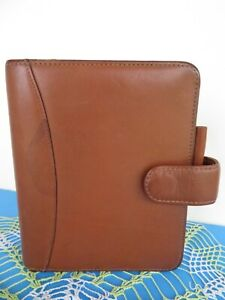 Compact 1 25 Rings Franklin Covey quest Planner Binder Brown Leather Mag Snap