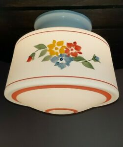 Vtg Art Deco Hand Painted Frosted Glass Shade Ceiling Light Fixture Chandelier
