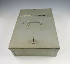 Vintage Deluxe Protecto Security Box With Key 13 X 9 x 3 Very Heavy