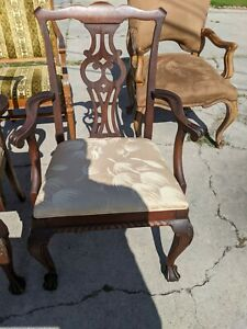 Chippendale Style Mahogany Arm Chairs 25x19x38 5