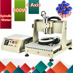 4 Axis 3040 Cnc Router Engraver Metal Milling Drilling Cutting Machine 800w Vfd