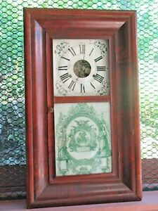 Large Ogee Clock 1840s Mah Orig Glass Dial Hands Movement Color Works Xnice