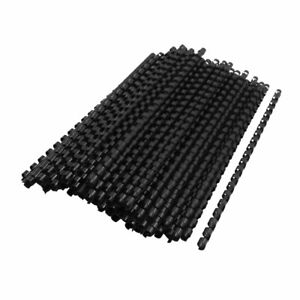 Office Plastic Spines Binding Combs 8mm Dia 21 Rings Black 100 Pcs