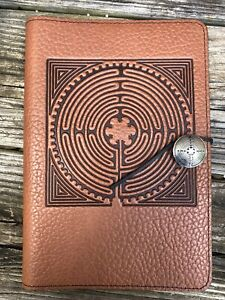 Oberon Design Saddle Pebbled Leather Large Journal labyrinth Of Chartres
