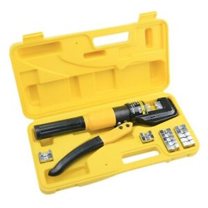 Hydraulic Crimper Crimping Tool w Dies Wire Battery Cable Lug Terminal 8 Ton
