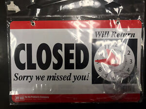 Open Closed Hanging Door Sign W Adjustable Clock Sorry We Missed You Hy ko Cl 1