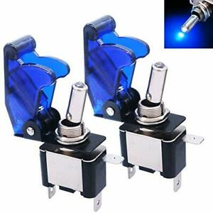 2pcs Rocker Lighted Toggle Switch 12v 20a Blue Blue Blue Waterproof Cover