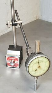 Starrett No 657aa Magnetic Base With A Federal 1 Dial Indicator