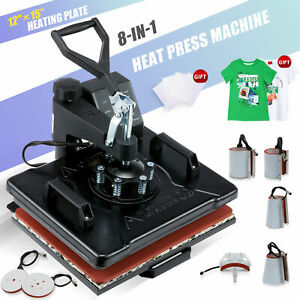 12x15 T Shirt Heat Press Machine For Shirts Cups Mugs Pads Plates More 8 In 1