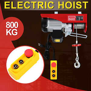 800kg 1760lbs Electric Wire Cable Hoist Winch Lifting Engine Crane Overhead Lift