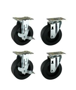 5 In Black Pp Caster Kit For Ready to assemble Steel Garage Base Cabinets