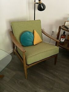Vintage Mid Century Modern Scoop Arm Lounge Chair New Fabric And Foam
