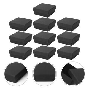 10pcs Simple Jewelry Wrapping Boxes Kraft Paper Jewelry Boxes With Sponge black