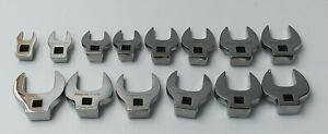 Snap on 14 Pc 3 8 Drive Sae Open end Crowfoot Wrench Set 7 16 1 1 4 214fc
