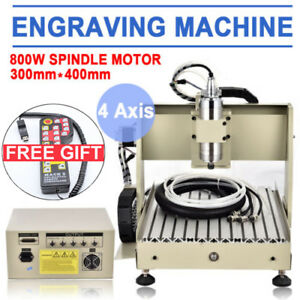 4 Axis 3040 Usb Cnc Router Engraving Ball Screws Milling Carving Machine 800w rc