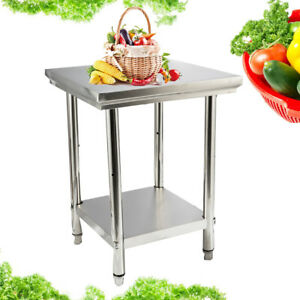 24 X 24 Stainless Steel Kitchen Prep Work Table W storage For Room Outdoor Bbq