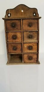 Antique American Primitive Hanging Spice Box Country Kitchen Drawers Cabinet 17