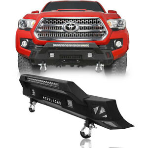 Heavy Duty Steel Front Bumper W Light Bar D Ring Fit Toyota Tacoma 2016 2021