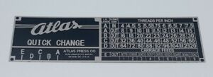 Atlas 10 Inch Lathe Quick Change Gearbox Thread Chart Tag Label