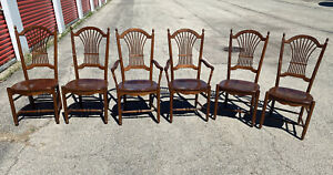 Antique Nicholas Stone Windsor Chair Dining Room Set 6 Wooden