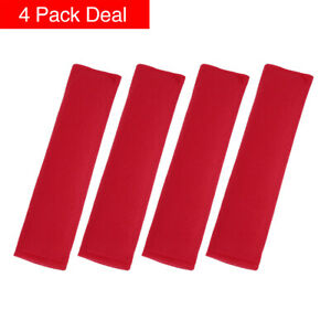 4pcs Universal Red Seat Belt Cover Shoulder Pad Strap Protector For Car Truck