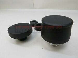 Black Aluminum Smooth Valve Cover Breather Oil Cap Combo Chevy Ford Sbc Hotrod