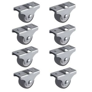 8pcs Tpe Caster Wheels Duty Fixed Casters With Rigid Non swivel Base Ball Bea