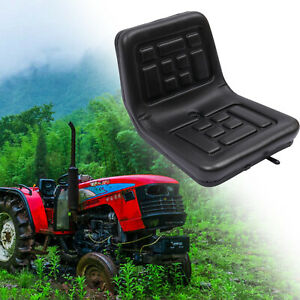 Slidable Black Tractor Seat With A Drain Hole Water resistant Thick Pu Leather