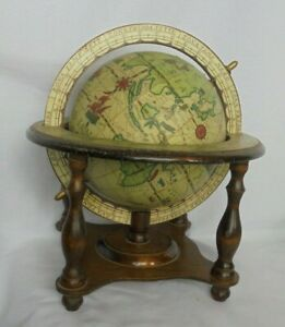 Vintage Olde World Rotating Globe With Atrology Signs On Wooden Stand