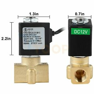 1 4 Electric Brass Solenoid Valve 12v Dc For Water Air Gas Fuel N c