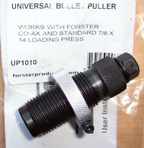 FORSTER BULLET PULLER SET WITH 22 CALIBER COLLET NEW IN THE ORIGINAL PACKAGE $45.00