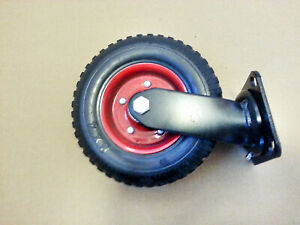 Large Caster Wheel 8 Inch Red Rim 2 Wide Wheel Solid Rubber Cast Iron