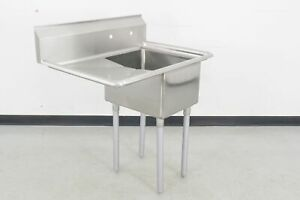 Used Stainless Steel 1 Compartment Sink W left Drainboard 661377