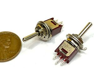 2x Sub Miniature Toggle Switch Spdt On off on 3 Way 3 Pins Latching Lock 5mm G25