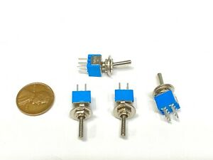 4 Pieces Sub Miniature Toggle Switch On on 6 Pins Latching Lock 5mm G27