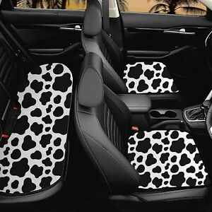 Animal Cow Print Car Seat Covers Cushion Protector Front And Rear Full Set 3pcs