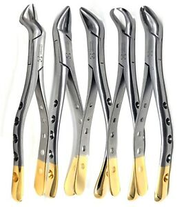 Set Of 5 German Dental Tooth Extracting Extraction Forceps Dental Instruments