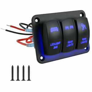 3 Gang Toggle Rocker Switch Panel For Car Boat Marine Rv Truck Blue Led