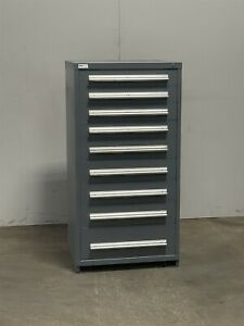 Used Stanley Vidmar 9 Drawer Cabinet Industrial Tool Parts Storage 2421 Gray